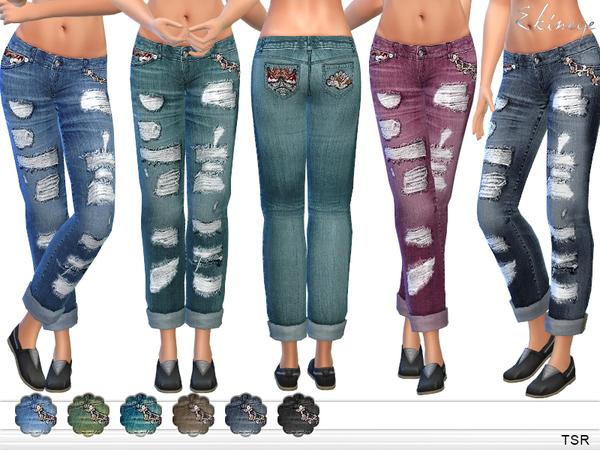 Sims 4 Ripped Boyfriend Jeans by ekinege at TSR