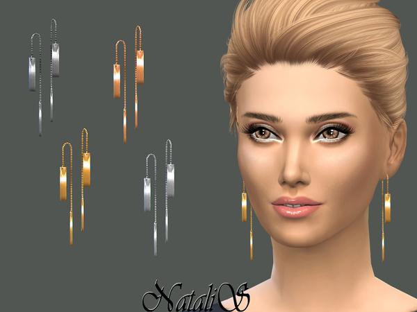 Sims 4 Metal Bar Drop Earrings by NataliS at TSR