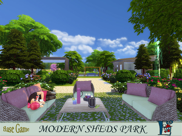 Sims 4 Modern Sheds Park by evi at TSR
