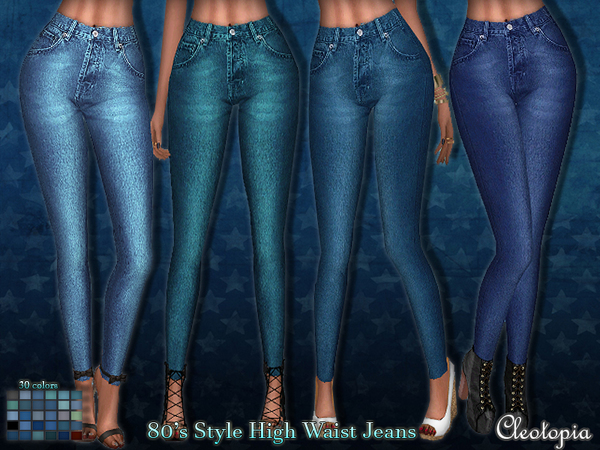 Sims 4 80s wash high waisted jeans by Cleotopia at TSR