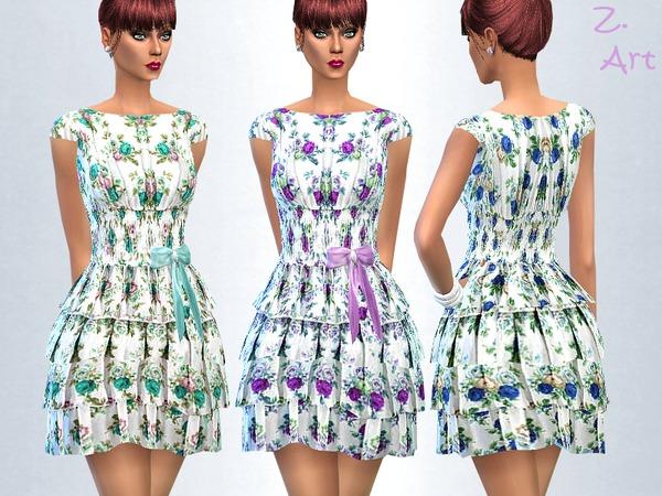Sims 4 Mini Roses dress by Zuckerschnute20 at TSR