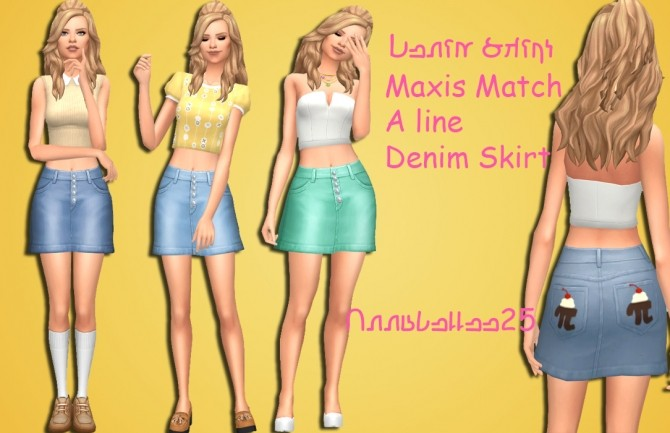 Maxis Match Denim Skirt by Annabellee25 at SimsWorkshop image 3322 670x433 Sims 4 Updates