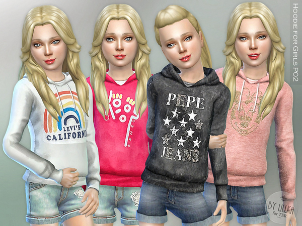Hoodie for Girls P02 by lillka at TSR image 356 Sims 4 Updates