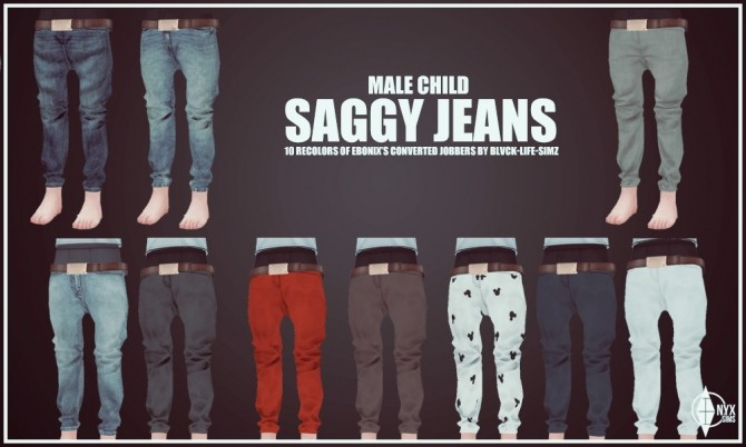 Sims 4 Child Male Saggy Jeans Recolors at Onyx Sims