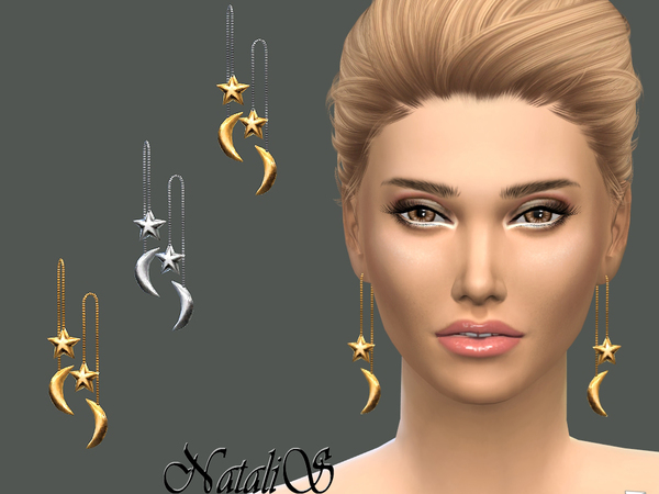 Star Moon Front Back Drop Earrings by NataliS at TSR image 3919 Sims 4 Updates