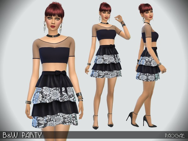 Sims 4 B&W Party dress by Paogae at TSR
