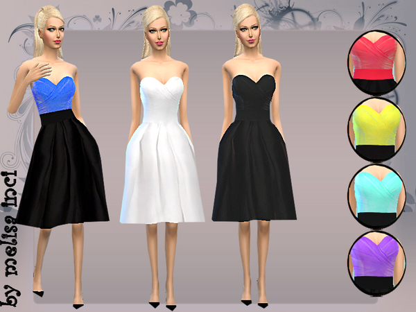 Sims 4 Skater Strapless Pleated Dress by melisa inci at TSR