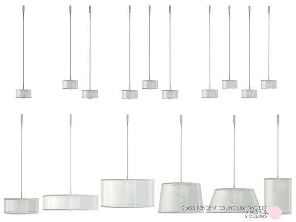 Glass Pendent Ceiling Lighting Set by DOT at TSR image 445 Sims 4 Updates