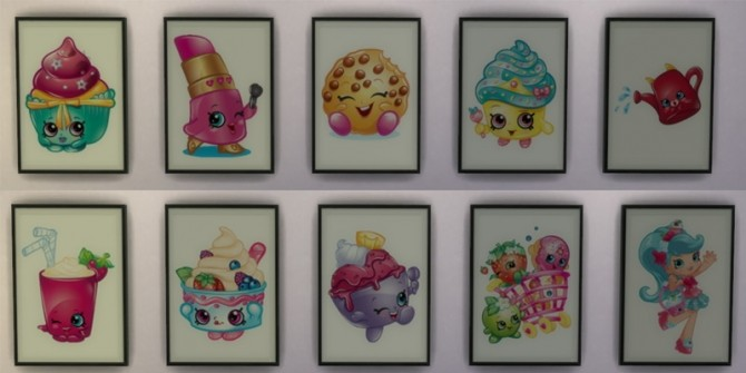 Sims 4 Shopkins Paintings by midnightskysims at SimsWorkshop