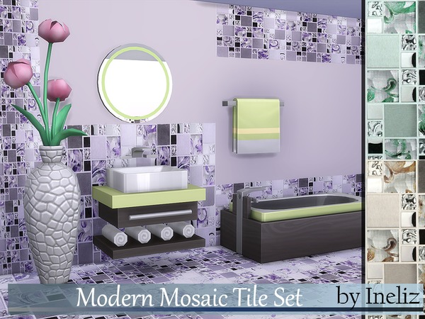 Modern Mosaic Tile Set by Ineliz at TSR image 5414 Sims 4 Updates