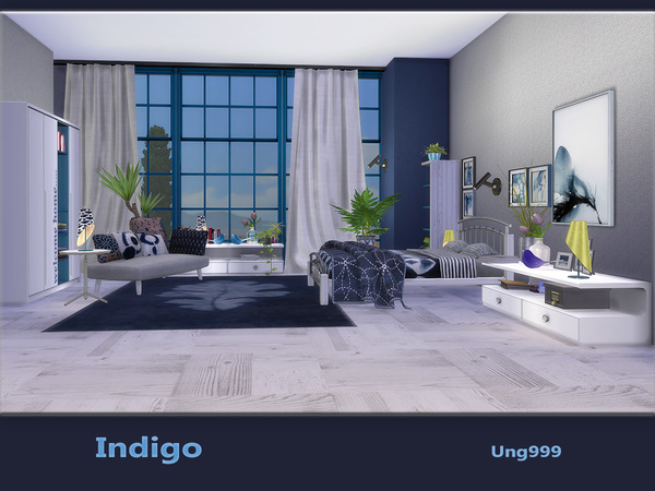 Indigo bedroom by ung999 at TSR image 550 Sims 4 Updates