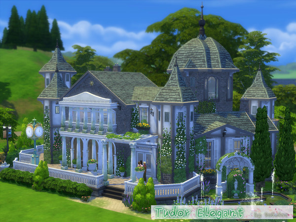Sims 4 Tudor elegant house by leetoku at TSR