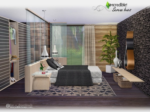 Serene hues bedroom by simcredible at tsr sims 4 updates for Bedroom designs sims 4