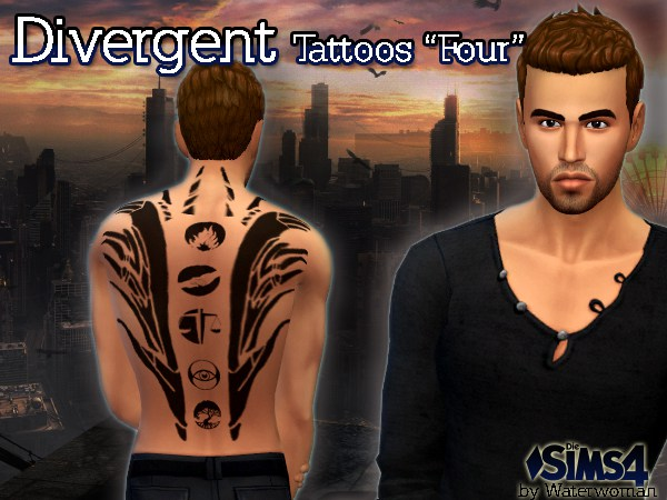 Sims 4 DIVERGENT Tattoo Four by Waterwoman at Akisima