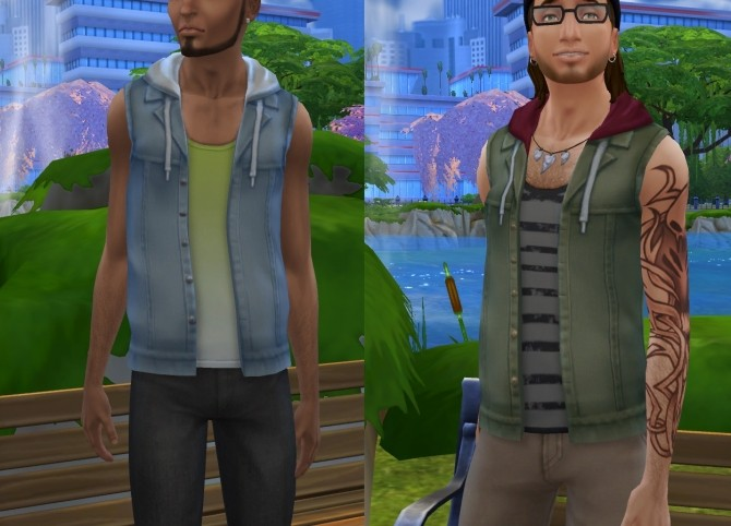 Sims 4 Hooded Denim Vest With Tank Top by VentusMatt at Mod The Sims