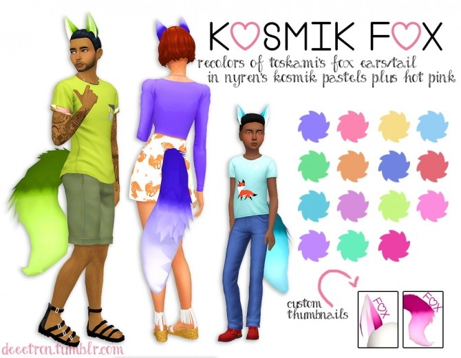 Sims 4 Toskamis Fox Ears/Tail in nyrens kosmik pastels by dtron at SimsWorkshop