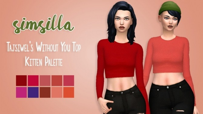Sims 4 Tajsiwels Without You Top Recolor by simsilla at SimsWorkshop
