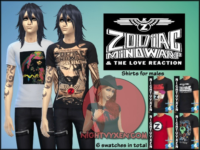 Sims 4 Zodiac Mindwarp & the Love Reaction Shirts by Nightvyxen at SimsWorkshop