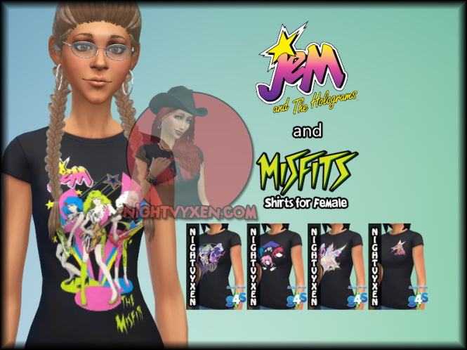 Jem & the Holograms Misfits Shirt for females at Nightvyxen image 773 Sims 4 Updates