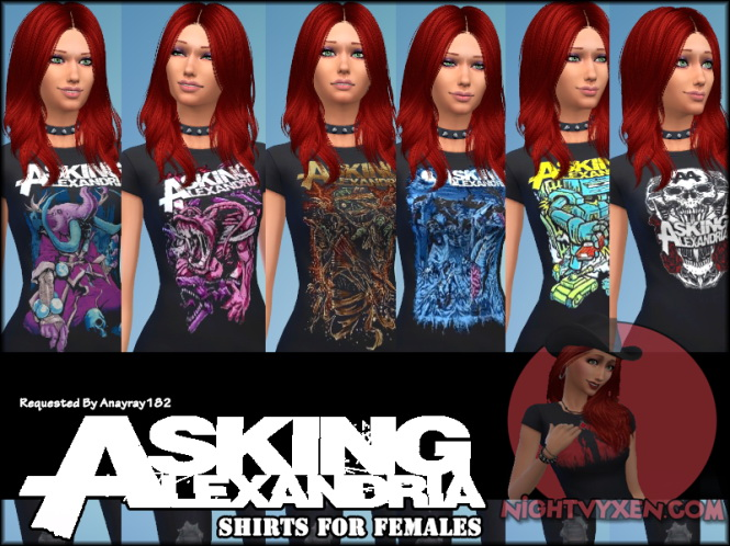 Asking Alexandria Shirts For Female At Nightvyxen Sims 4 Updates