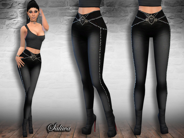 Sims 4 Rock Queen Leather Pants by Saliwa at TSR