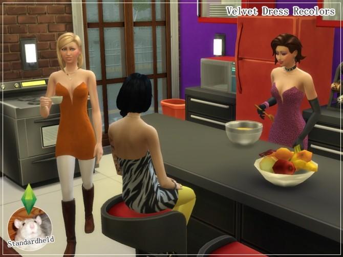 Sims 4 Velvet Dress Recolors by Standardheld at SimsWorkshop
