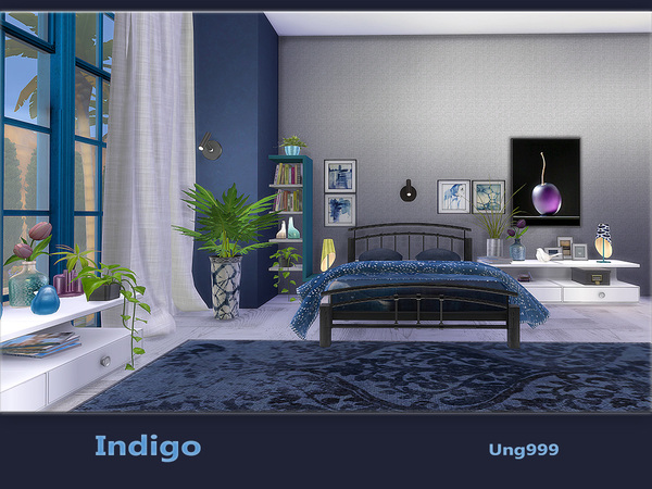 Indigo bedroom by ung999 at TSR image 850 Sims 4 Updates