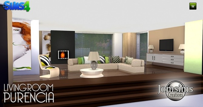 Purencia livingroom at jomsims creations sims 4 updates for Sims 4 living room ideas