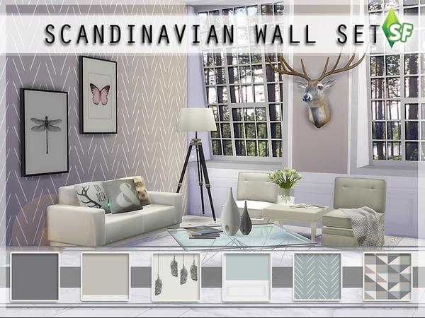 Sims 4 Scandinavian Wall Set by SimFabulous at TSR