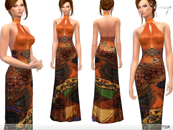 Sims 4 Ethnic Print Halter Backless Dress by ekinege at TSR