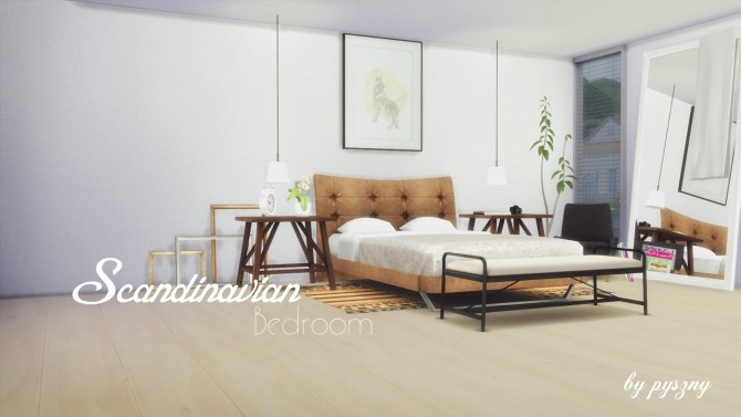Scandinavian bedroom at pyszny design sims 4 updates for Bedroom designs sims 4