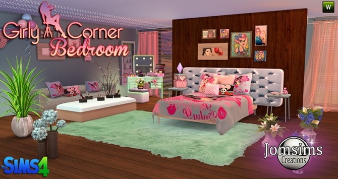 Girly bedroom at jomsims creations image 974 670x355 sims 4 updates