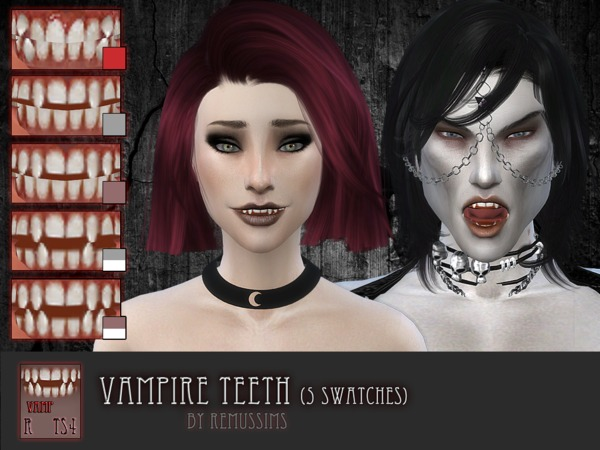 Sims 4 Vampire teeth by RemusSirion at TSR