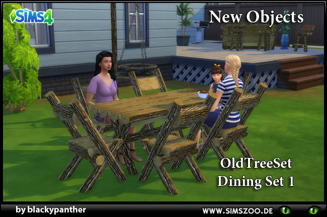 Sims 4 Old Tree Set Dining Set 1 by blackypanther at Blacky's Sims Zoo
