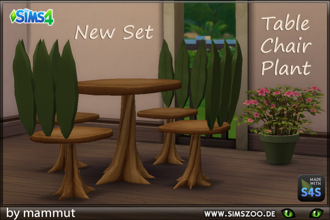 Sims 4 Elves Set plant table and chair by mammut at Blacky's Sims Zoo