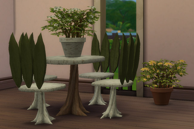 Elves Set plant table and chair by mammut at Blacky's Sims ...