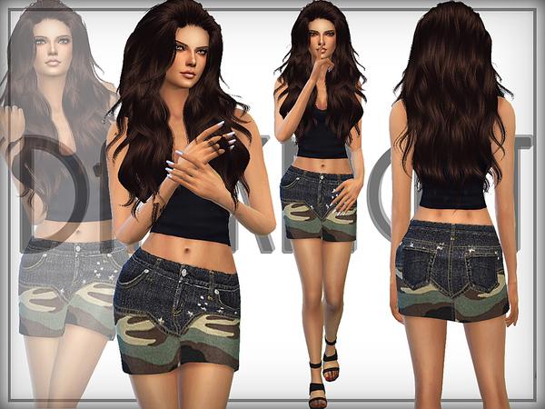Sims 4 Camo Denim Skirt by DarkNighTt at TSR