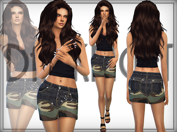 Camo Denim Skirt by DarkNighTt at TSR image 1240 Sims 4 Updates