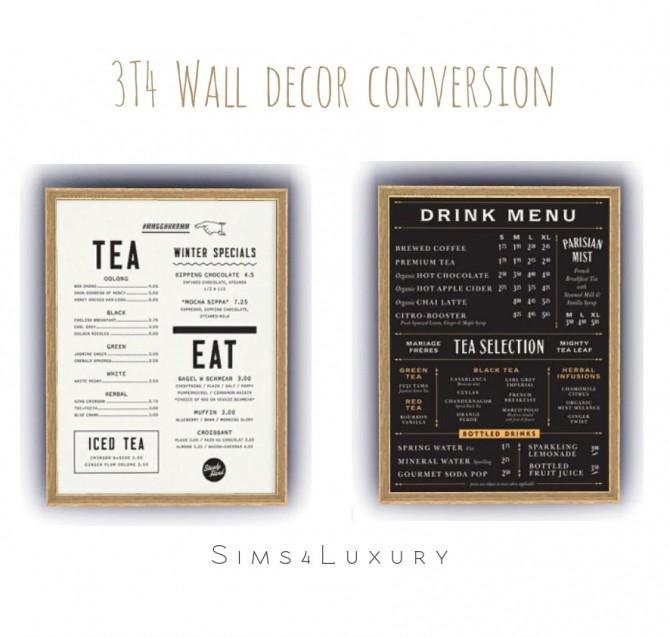 Sims 4 3T4 Wall menu decor at Sims4 Luxury