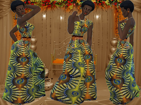 African women maxi dress by TrudieOpp at TSR image 1270 Sims 4 Updates