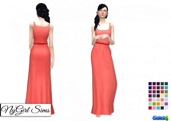 Gathered Waist Tank Maxi Dress at NyGirl Sims image 1309 670x473 Sims 4 Updates