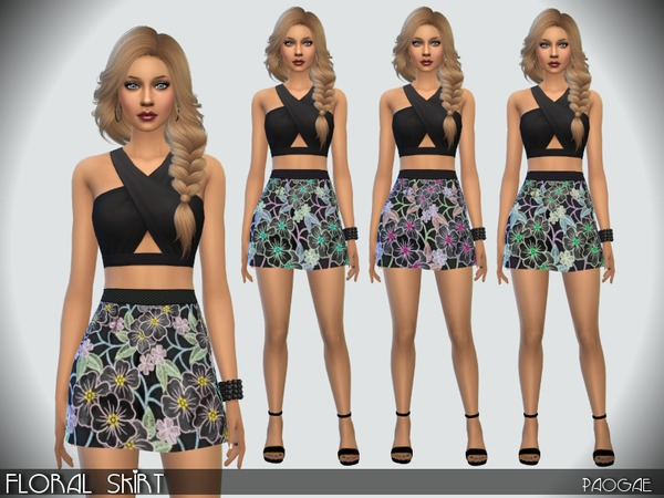 Sims 4 Floral Skirt by Paogae at TSR