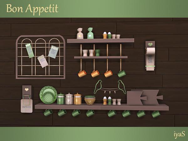Sims 4 Bon Appetit shelves & objects by soloriya at TSR