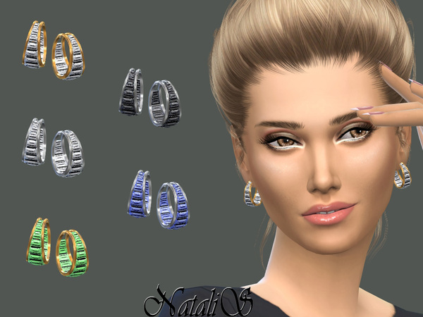Double hoop baguette earrings by NataliS at TSR image 132 Sims 4 Updates