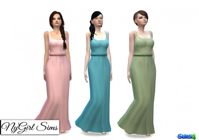 Gathered Waist Tank Maxi Dress at NyGirl Sims image 13211 670x473 Sims 4 Updates