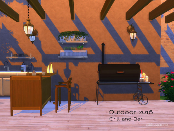 Sims 4 Outdoor 2016 Grill and Bar by ShinoKCR at TSR