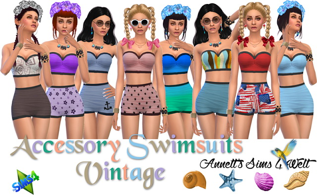 Accessory Swimsuits Vintage at Annett's Sims 4 Welt image 133 Sims 4 Updates