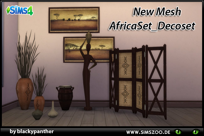 Sims 4 Africa deco set by blackypanther at Blacky's Sims Zoo