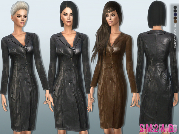Sims 4 Leather coat by sims2fanbg at TSR
