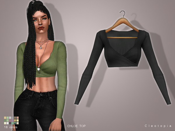Sims 4 CHLOE Wrap Top by Cleotopia at TSR